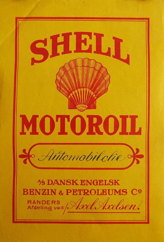 1930s Shell Oil Advertisement Denmark  Original by OutofCopenhagen