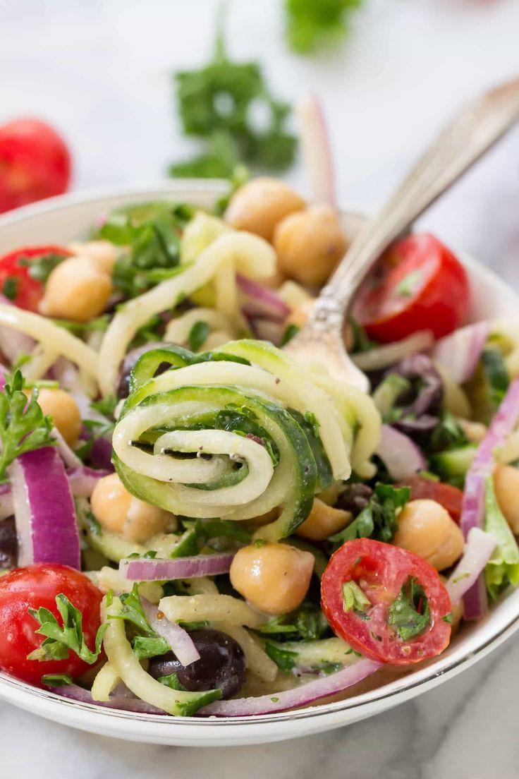 Vegan Cucumber Noodle Greek Salad Recipe Vegan greek
