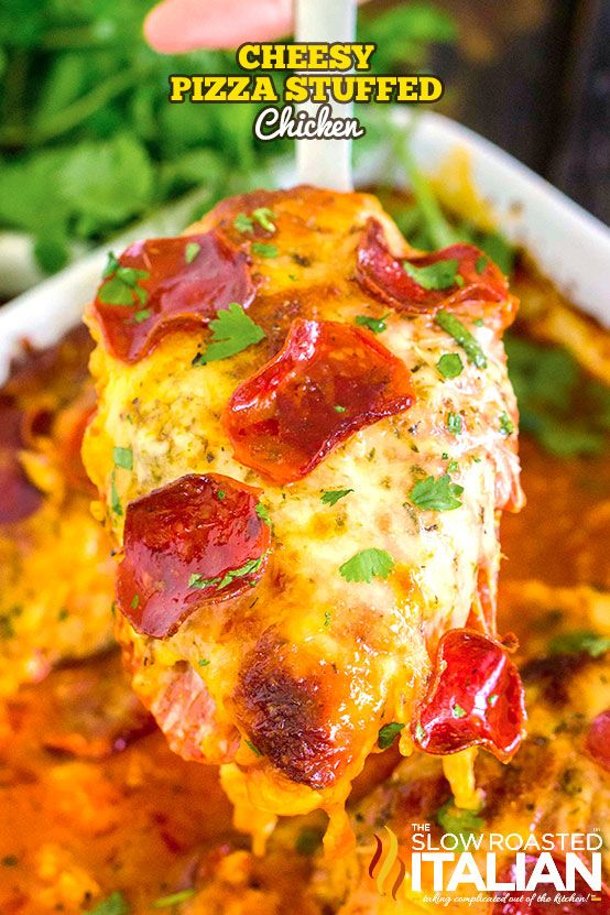 Cheesy Pizza Stuffed Chicken is an easy recipe made in one pan, with lots of cheese and pepperoni to satisfy your pizza cravings!