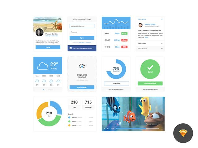Here is a clean and minimal UI kit made with Sketch app. Freebie created and released by Mateusz Dembek.