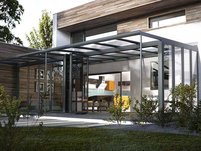 Charcoal Grey coloured glass extension from Everest