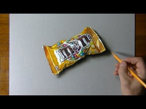 Drawing time lapse: a bag of M&M's - hyperrealistic art - YouTube
