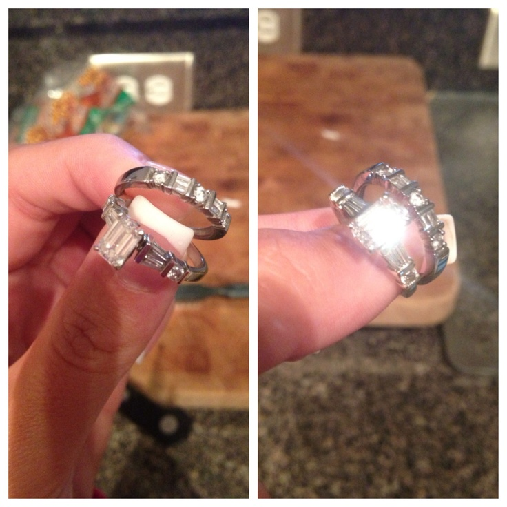 This was my ring and wedding band before and after the DIY jewelry cleaner I tried out. It worked sooo good I couldn't even get a pic of my ring without it shining- this is even better then when I take it to the jewelry store. 1 cup of hot water, 1 tbsp baking soda, 1 tbsp salt, 1 tbsp detergent over some foil covering the bowl.