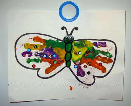 Handprint and Footprint Arts & Crafts: Colorful Handprint Butterfly. Can also do with footprints - point toes towards butterfly's head.