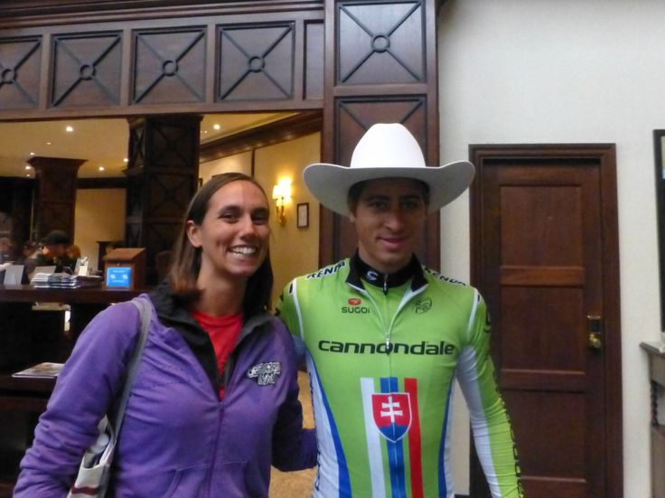 Peter Sagan (Slovakia, Cannondale), sporting his Tour of Alberta cowboy hat, at the 2013 GPCQM