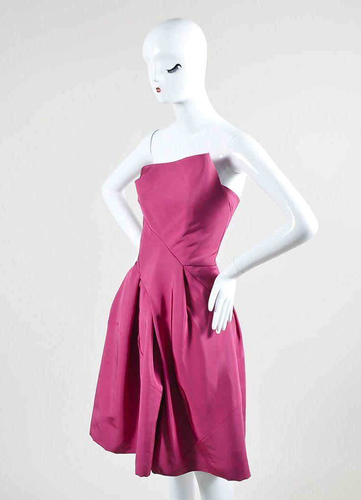 Magenta Pink J. Mendel Silk Strapless Balloon Cocktail Dress