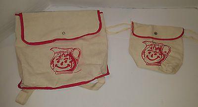 Vintage kool aid man canvas backpack advertising Set of 2 bags LOT