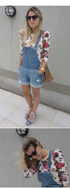 Jardineira jeans cheia de charme com estampa florida e salto http://vilamulher.terra.com.br/jardineira-jeans-como-usar-9-5007479-5926-pfi-josiemantilla.html