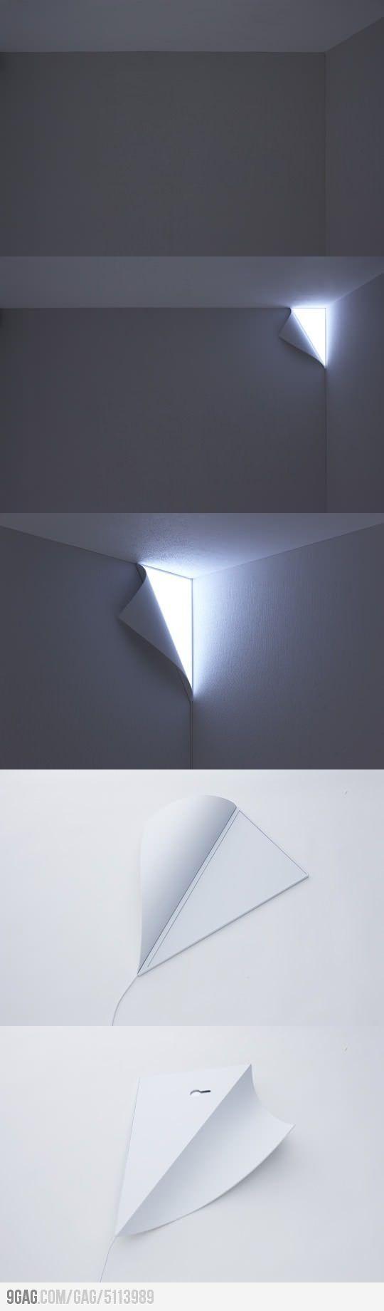 lampe integrable au papier peint en angle: