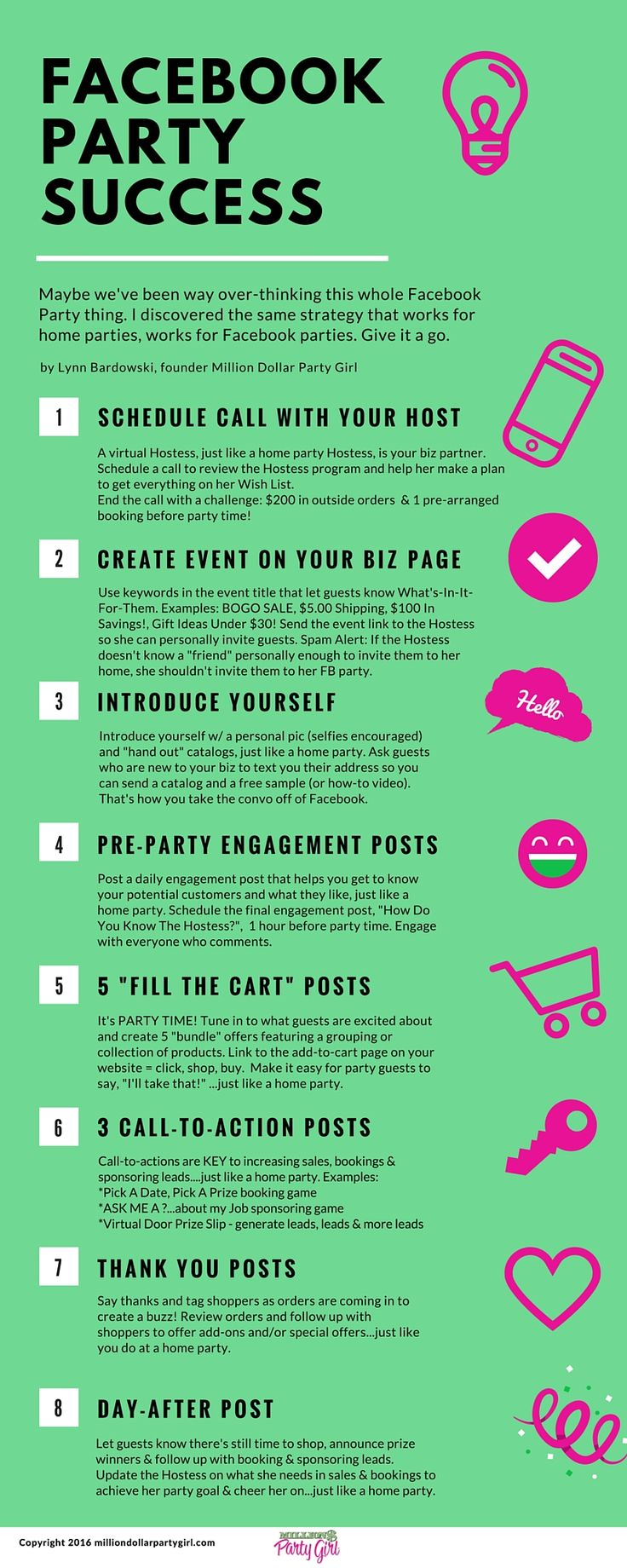 Save this Facebook Party infographic for a simple-to-follow 8 step formula to holding successful Facebook Parties. You'll want to share this one with your team! Have a FREE party, shop online, or join my team! Contact me today! Pure Romance by Hannah  www.pureromance.com/HannahHenson  Hannah.PRParty@gmail.com