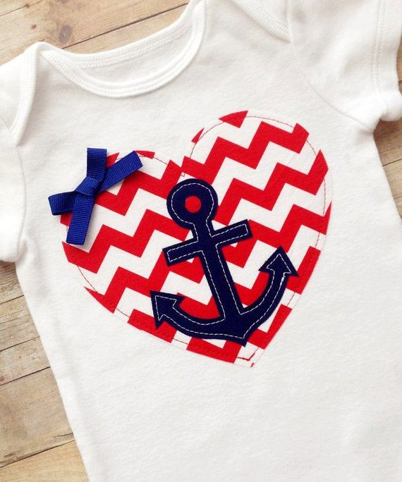 Girls' Nautical Red Chevron Heart with Navy Anchor and Bow Onesie or T-Shirt - Nautical Baby Girls' Outfit - Chevron