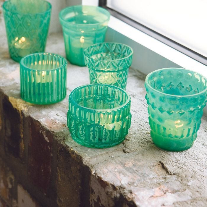All Gifts - Verre Turquoise Tealights