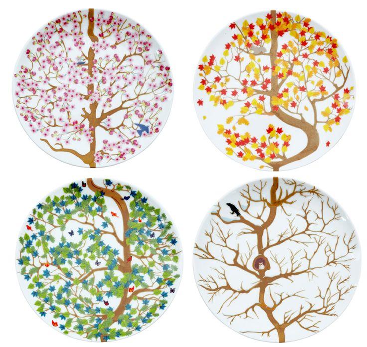 4-SEASONS PLATES, set of 4 plates. Graphic design: Merel Maltha