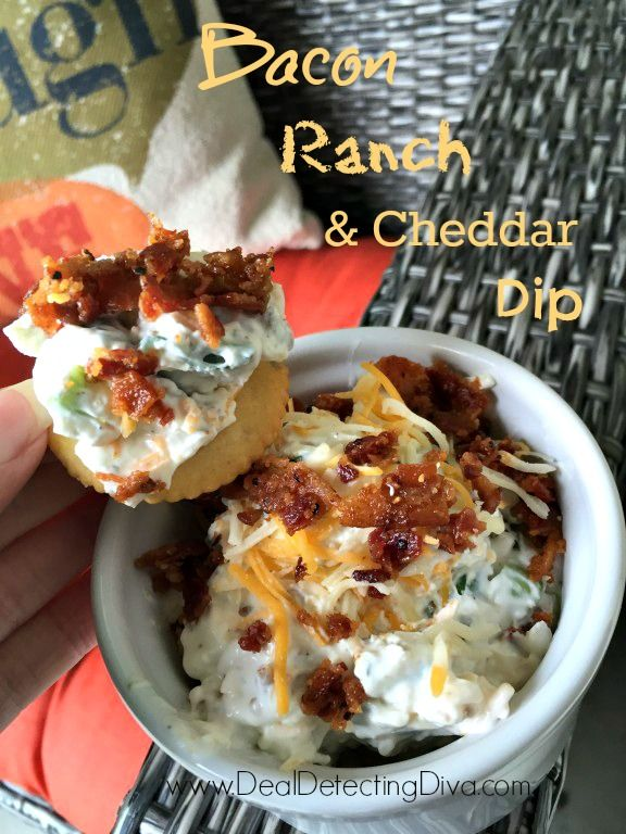 Bacon Ranch Cheddar Cheese Dip Recipe - 15 Minute Prep!