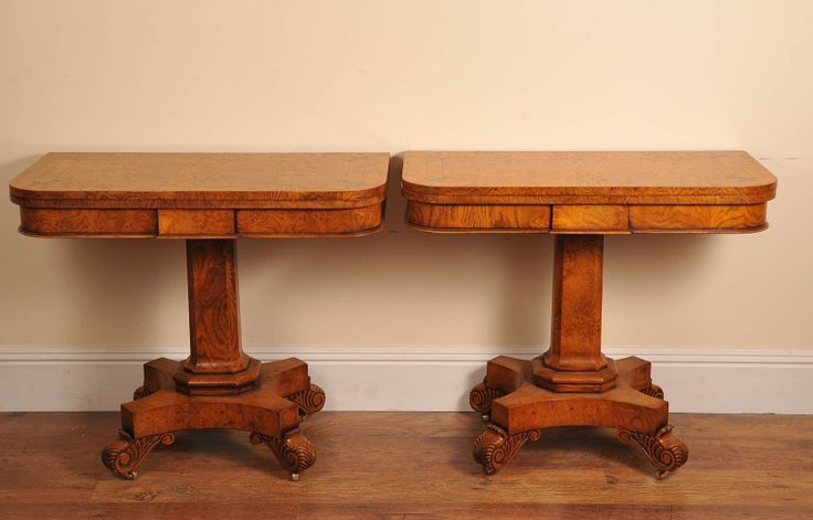 Photo of Pr English Elm William 4th Games Card Tables Bullock Base