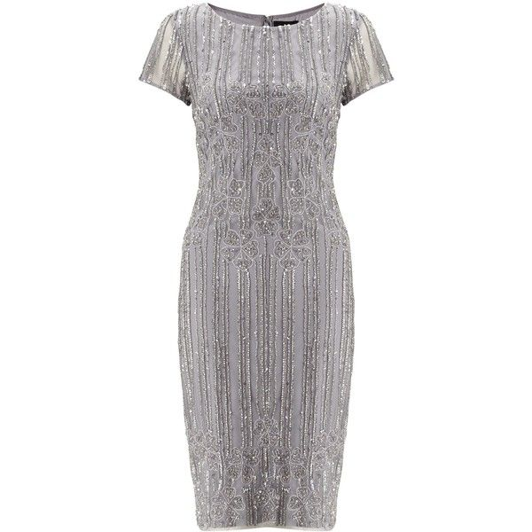 Adrianna Papell Mid Length Beaded Cocktail Dress, Silver/Grey (£270) ❤ liked on Polyvore featuring dresses, long-sleeve midi dresses, knee length cocktail dresses, silver cocktail dress, mini cocktail dress and beaded cocktail dresses