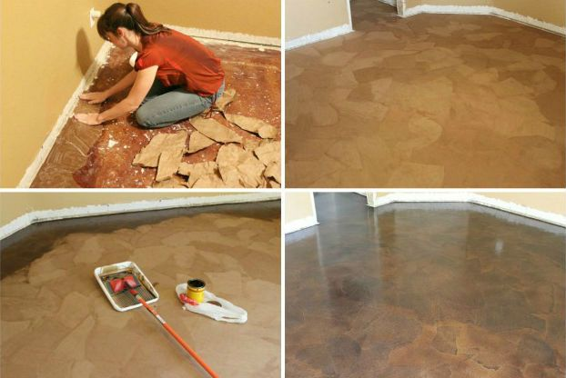 Paper Bag Floors http://www.handimania.com/diy/paper-bag-floors.html