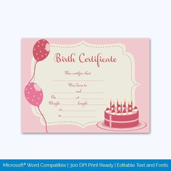 Birth Certificate Template (Cake) In 2020