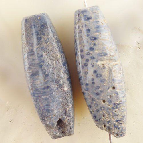2Pcs-35x12mm-Blue-Coral-Drum-Pendant-Bead-X21612