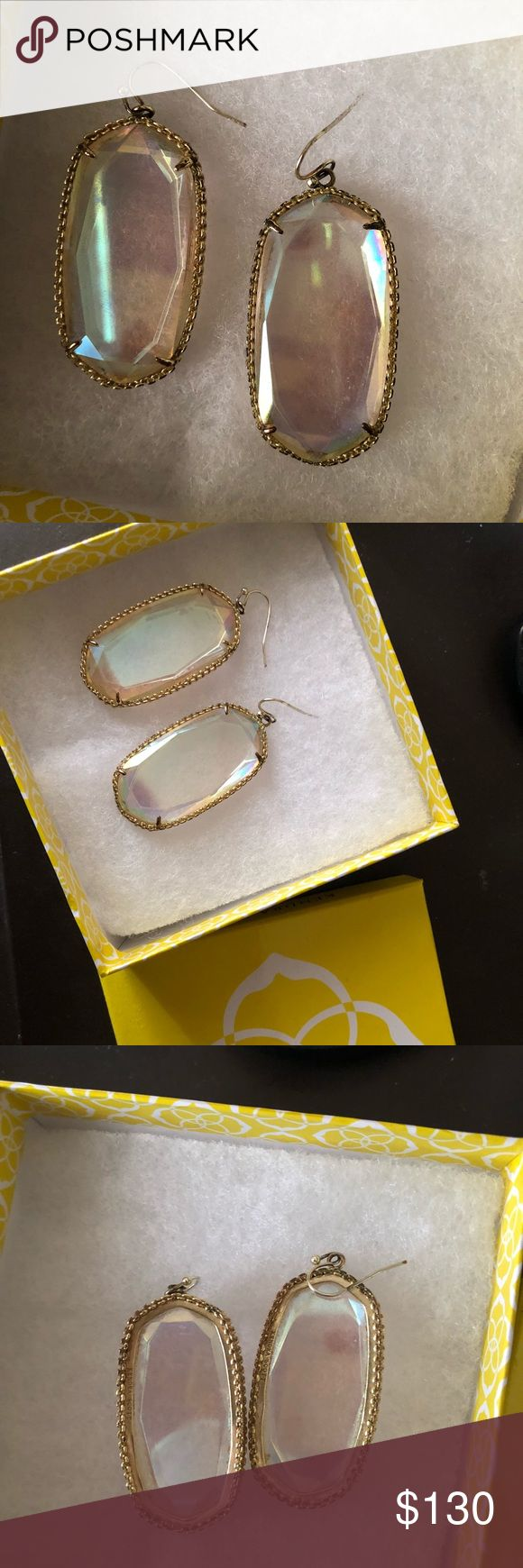Kendra Scott Danielle * RARE IRIDESCENT * Kendra Scott Danielle  Only worn a few times! Comes with box and dust baggie. No back ends for the earrings. Very light smudge on one earring but very unnoticeable.  Open to reasonable offers. Kendra Scott Jewelry Earrings