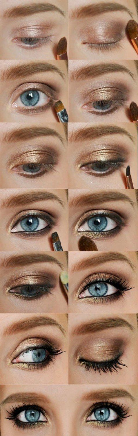 Looking for smooth makeup tutorials for blue eyes? Find a full photo gallery with step by step instructions to achieve the perfect makeup for blue eyes.