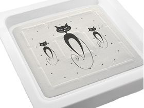 rutschfeste Duscheinlage mit Katzen Motiv in weiß ca. 55 x 55 cm