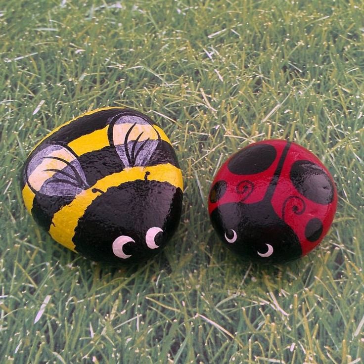Painted Garden Stones: Ladybug Bumble Bee Set Of Two Hand Painted Garden Stones