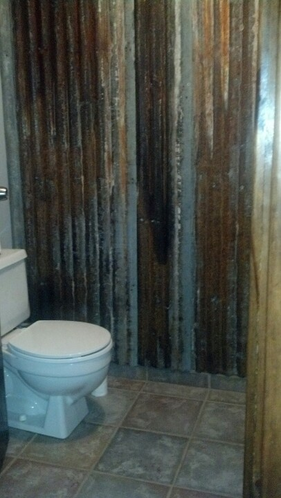 Corregated Metal Rustic Bathroom For The Home Pinterest Toilets Chairs And Ceilings