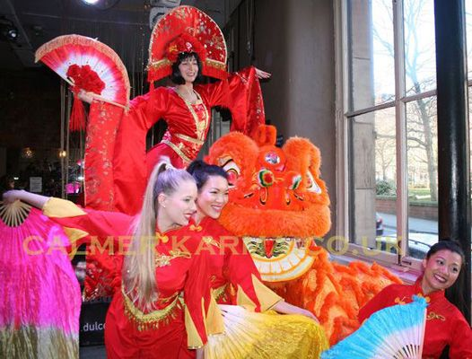 CHINESE AND HONG KONG ENTERTAINMENT - LION CHINESE STILTS AND DANCERS TO HIRE