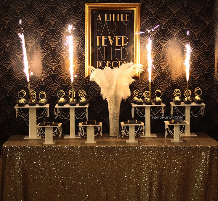 Check out this glamourous  Great Gatsby Themed Graduation Party. The dessert table is stunning!!! Loving the feathers! See more party ideas at CatchMyParty.com