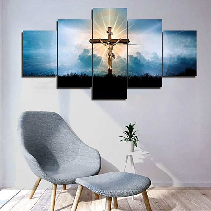 Framed Wall Art Living Room Decor 5 Piece Canvas Jesus Crucified