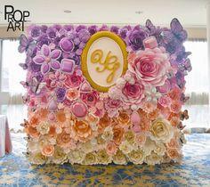 wedding paper flowers wall