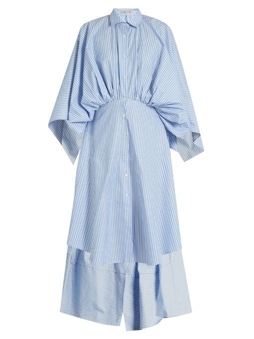 palmer//harding Open-back gathered-waist striped shirtdress
