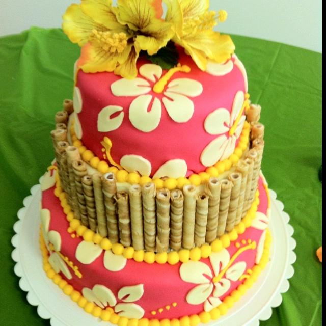 Bridal shower cake- Hawaiian theme!