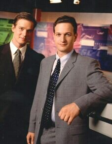 "Hottie two-fer...Josh Charles (right) of ""The Good Wife"" and Peter Krause, of ""Six Feet Under"" and ""Parenthood"".  This photo is from ""SportsNight""."