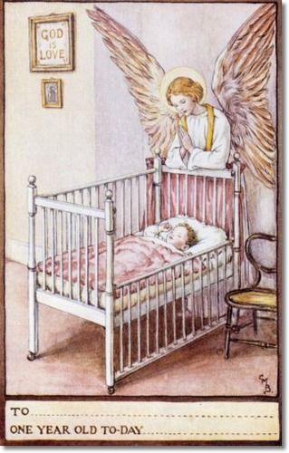 Cicely Mary Barker - Religious Works - Guardian Angel Birthday Cards 1923 - One Year Card
