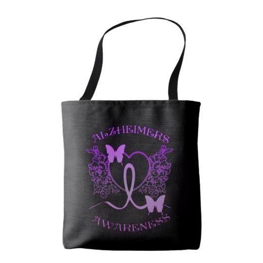 Alzheimers Awareness Purple Butterflies Tote Bag