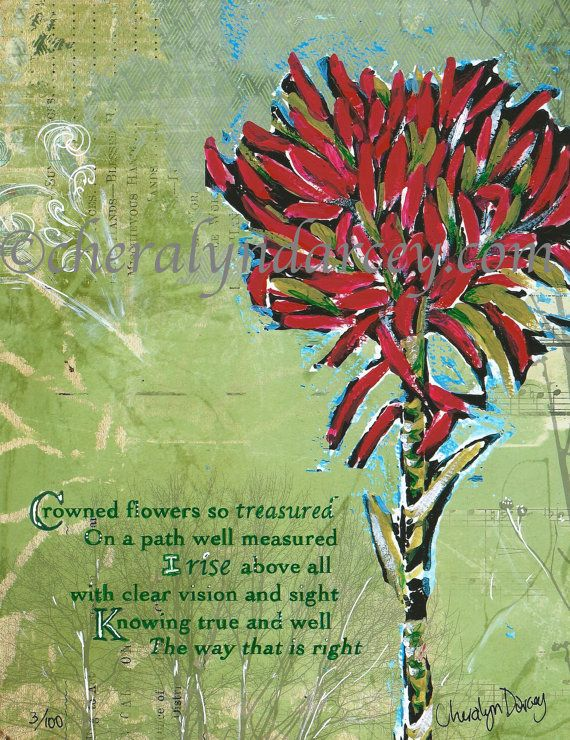 Gymea Lily Wildflower Affirmation Hand by CheralynDarcey on Etsy, $25.00