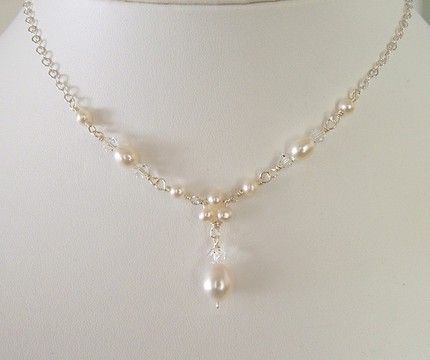 Delicate Pearl Necklace And Earring Set