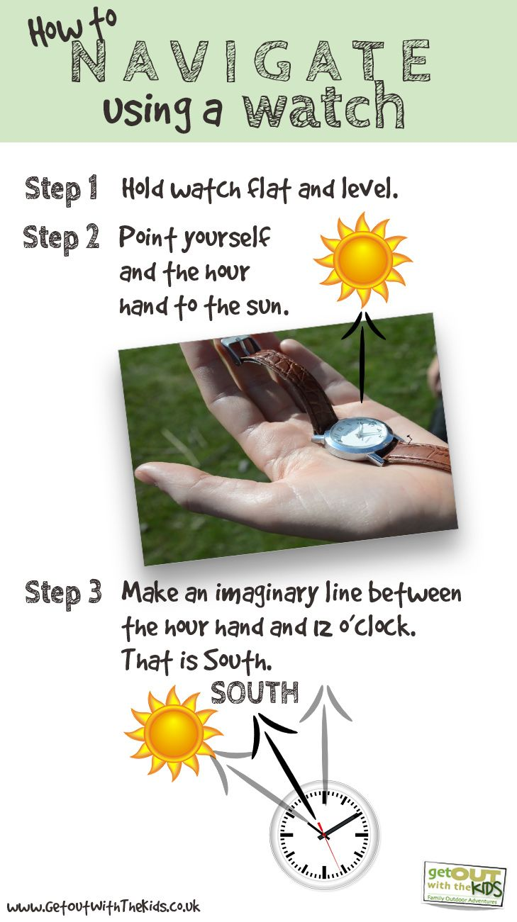 Teach your kids how to navigate with a watch and the sun