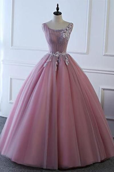 3d5b0c7a00 Pink tulle floor length senior prom dress with lace appliqués