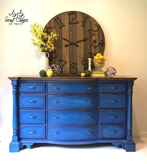 blue painted dresser - painted furniture - painted dresser