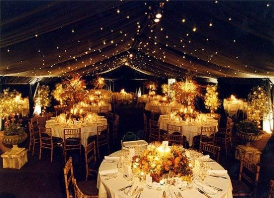 Twinkling lights turn a tent into the night sky. #weddings #lights #tent