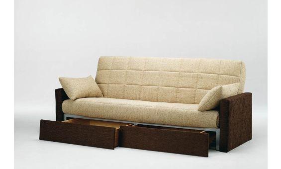 Sofa cama con cajones sofa convertible en cama de 135x190 for Futon cama de una plaza