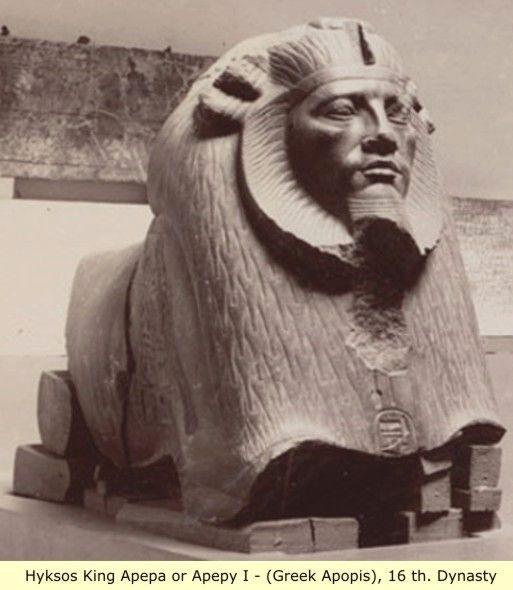 """Apepa probablemente tuvo el reinado más largo de todos los reyes hicsos. Su nombre Apepy personal (griego: Apopis) fue obviamente tomado del dios egipcio Apep y su nombre significa trono - """"Grande y Poderoso Como Re"""". Él cree que fue un gobernante formado que se metió en una guerra que se opone firmemente a."""