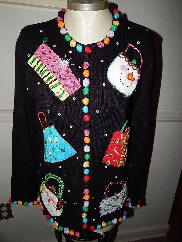 Berek holiday Sweater Size medium Christmas Colorful  ramie blend #Berek #Cardigan