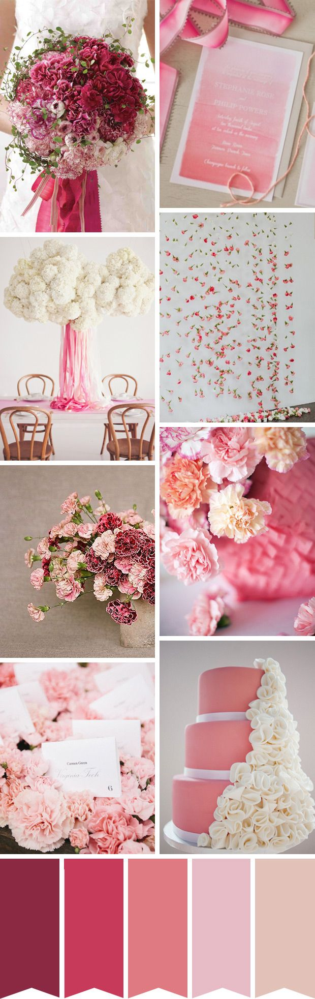 Pink Carnation Inspired Wedding Palette | see how to create this look on www.onefabday.com