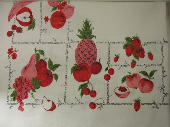 Pink Fruit 1940s Oversized Tablecloth by ForgetMeNotVintageTN, $44.00