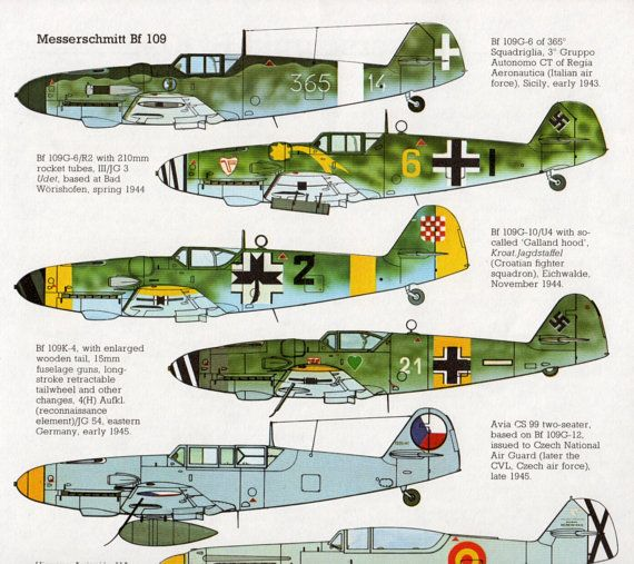 vintage Aircraft print WWII airplane Messerschmitt Bf 109 military aircraft print bedroom decor plane - a collection of framed vintage airplane prints would be