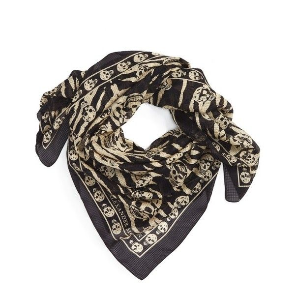 Men's Alexander Mcqueen Silk Scarf ($320) ❤ liked on Polyvore featuring men's fashion, men's accessories, men's scarves, mens scarves and mens silk scarves